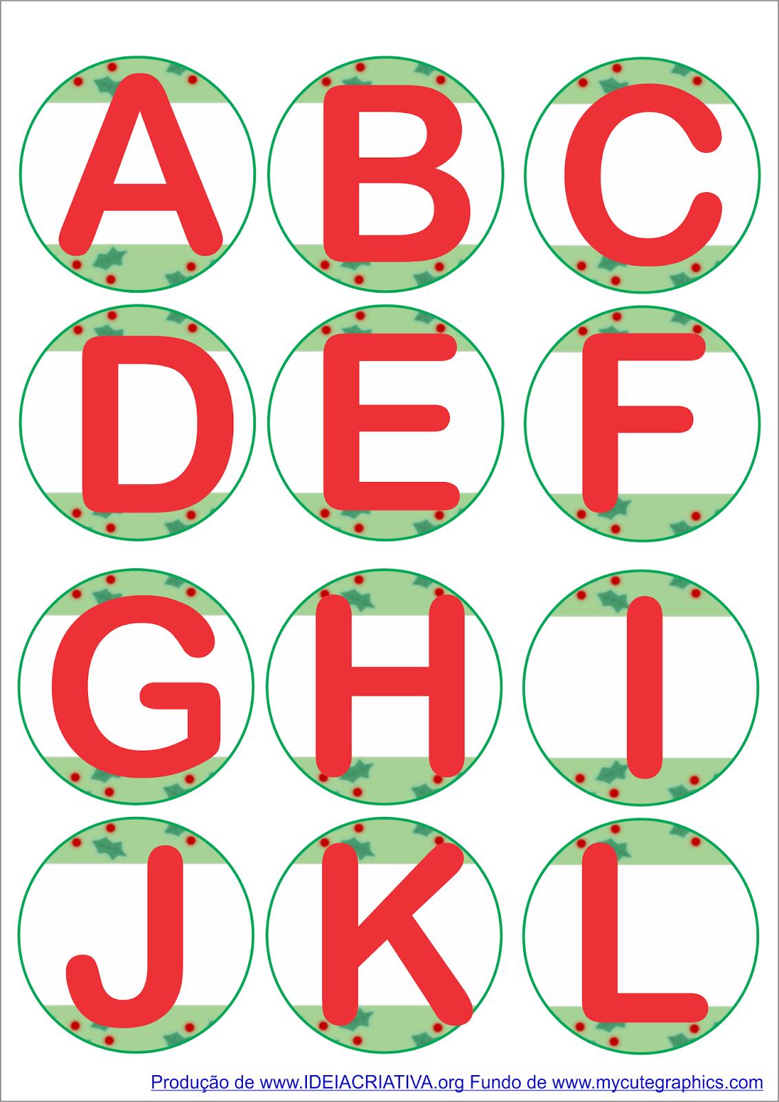 Alfabeto Natalino e Numerais até 9 em forma de círculo