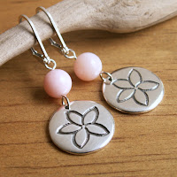 fine silver handmade plumeria flower earrings with pink opal by Jennifer Kistler