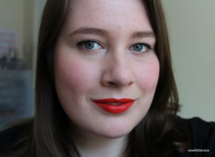 one little vice beauty blog: orange toned matte red drugstore lipstick