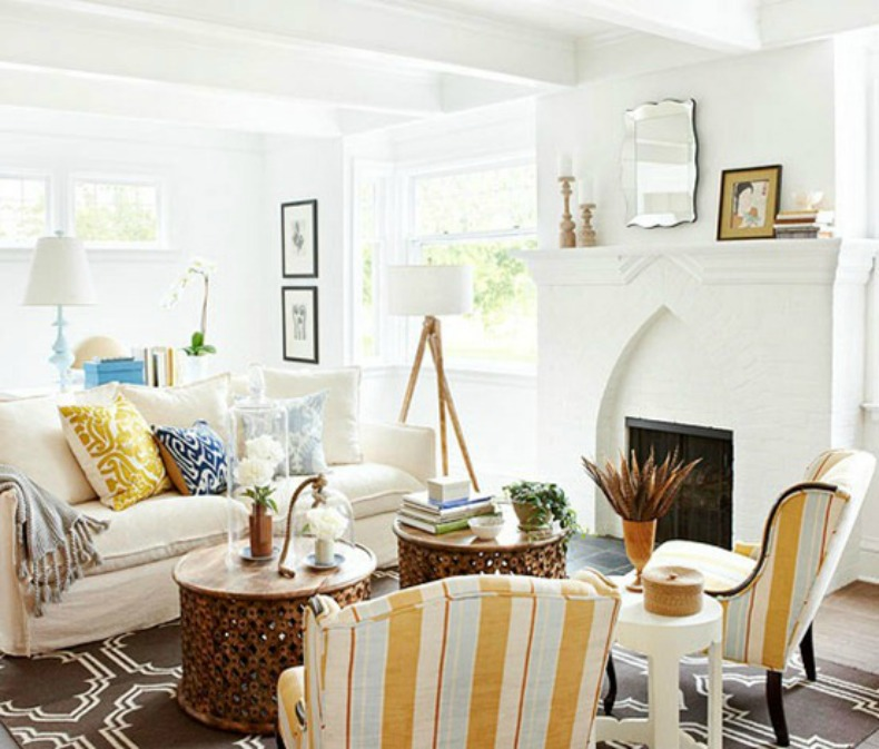 Coastal White Slipcover Sofas In Eclectic Living Room