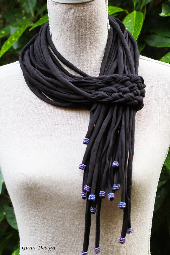 gunadesign guna andersone Black scarf lariat necklace with beads