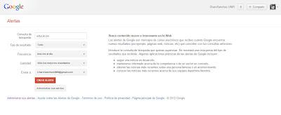 Captura de la pantalla principal de Google Alerts