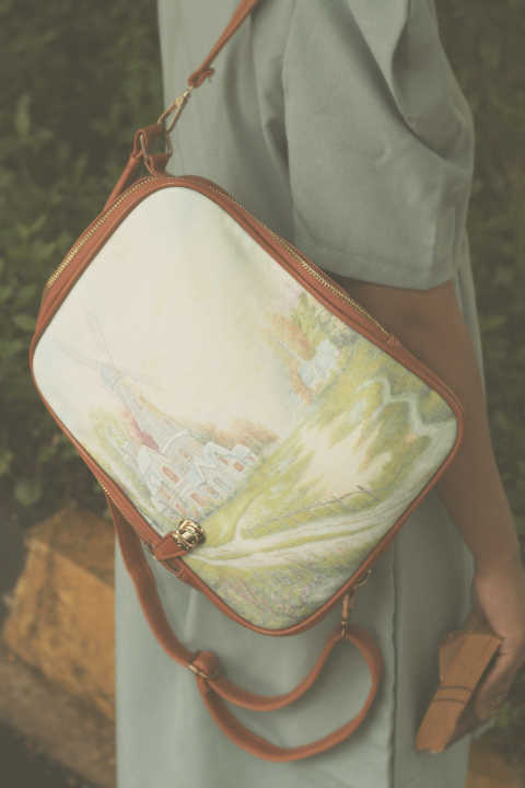 Vintage Hand Painted Bag, knapsack
