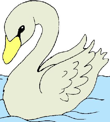 Dibujo fácil de un cisne para niños