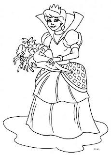 Princesa con ramo de rosas para colorear