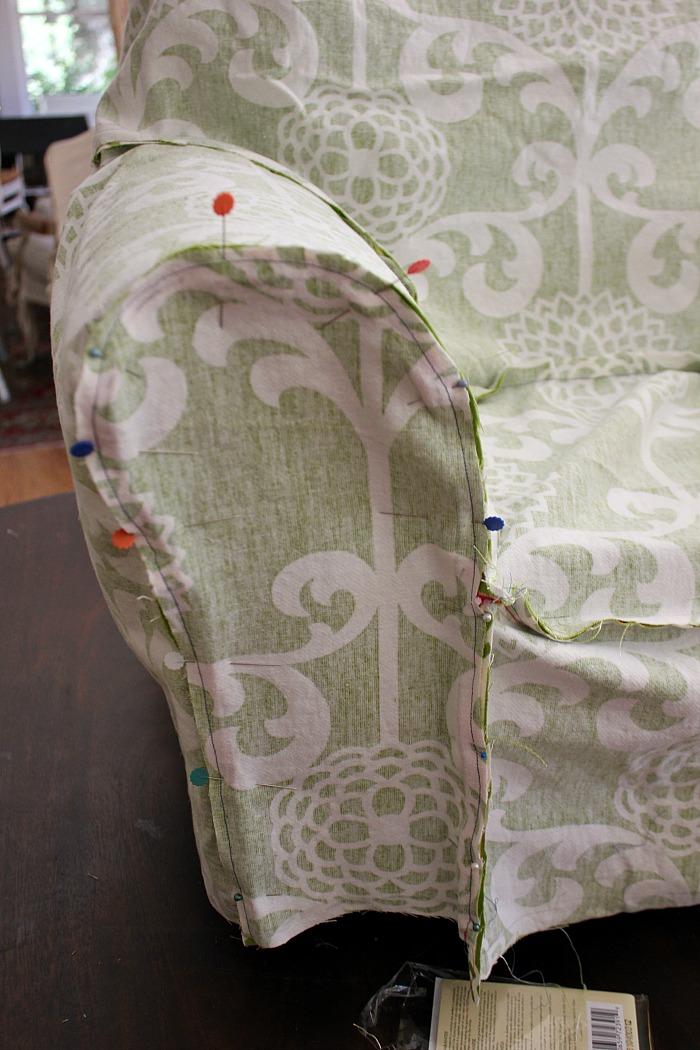 armchair slipcover tutorial. Black Bedroom Furniture Sets. Home Design Ideas