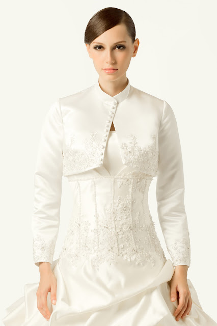 Long-sleeve bolero wedding jacket