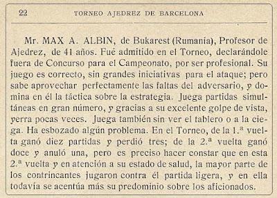 Nota biográfica sobre el ajedrecista Max Adolf Albin
