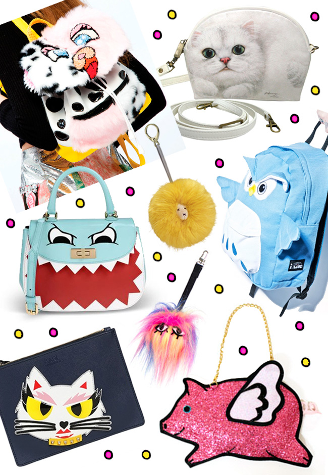 cute handbags, fluffy bags, bags with eyes