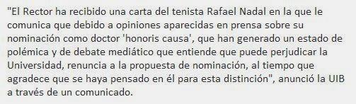 Rafa Nadal rechaza ser doctor en la Universidad de Illes Balears