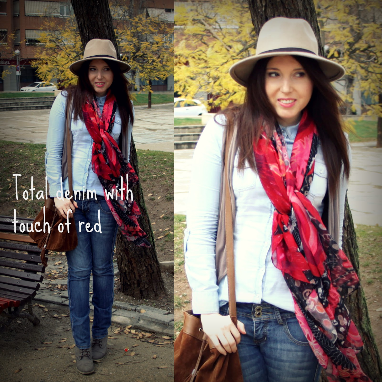 Total Denim with touch of red