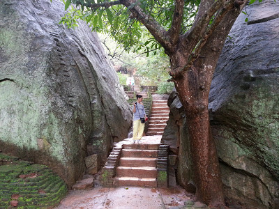 Sigiriya Boulder Gardens entry upstairs, Consists several large boulders linked by winding pathways.