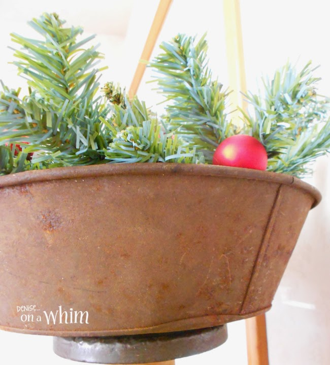 Rusty Container with Greenry and Vintage Ornaments via Denise on a Whim