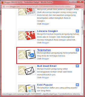 Memasang Widget Terjemahan/Google Translate di Blog