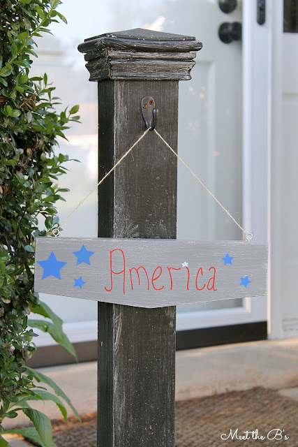 America wooden sign! Perfect DIY for Memorial Day or Fourth of July!