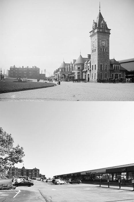 Black & White Photo of Portland, Maine Union Station before & after