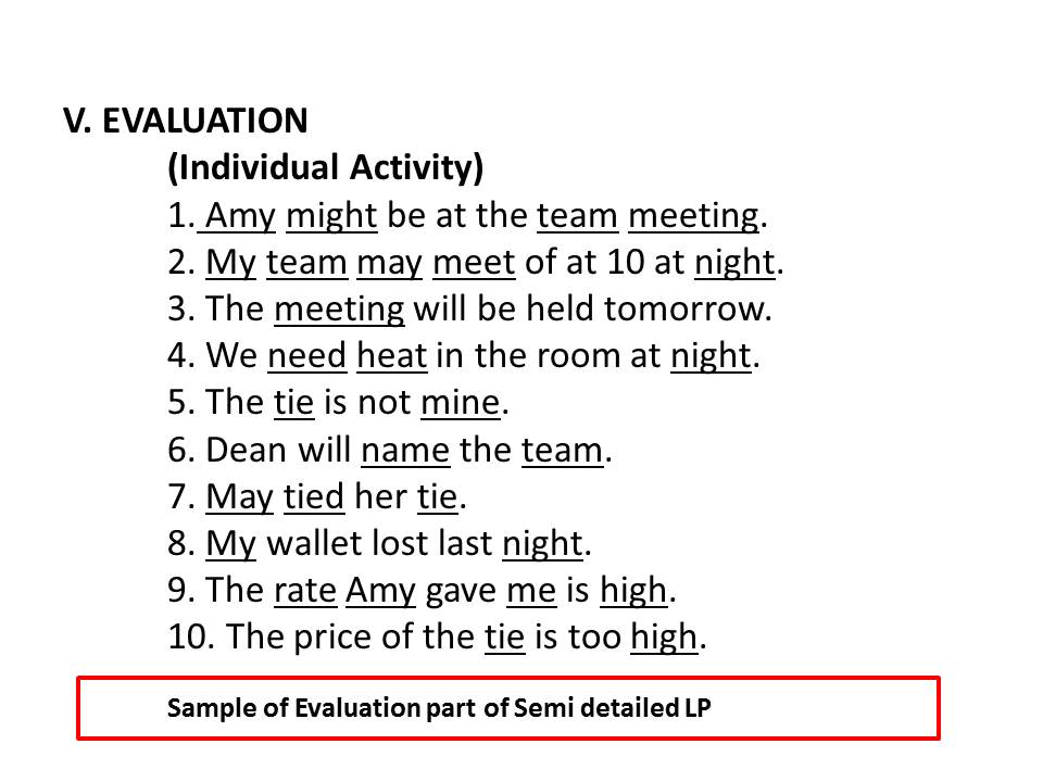 Semi Detailed Lesson Plan Format – Evaluation Proposal Sample