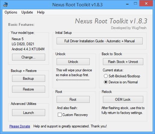 برنامج مجاني لعمل روت لجميع أجهزة وهواتف نيكزس Nexus Root Toolkit v1.8.3