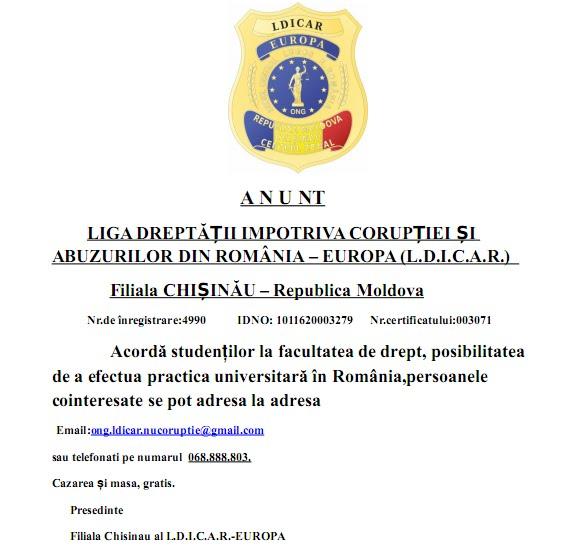 A N U NT - Filiala CHIȘINĂU – Republica Moldova