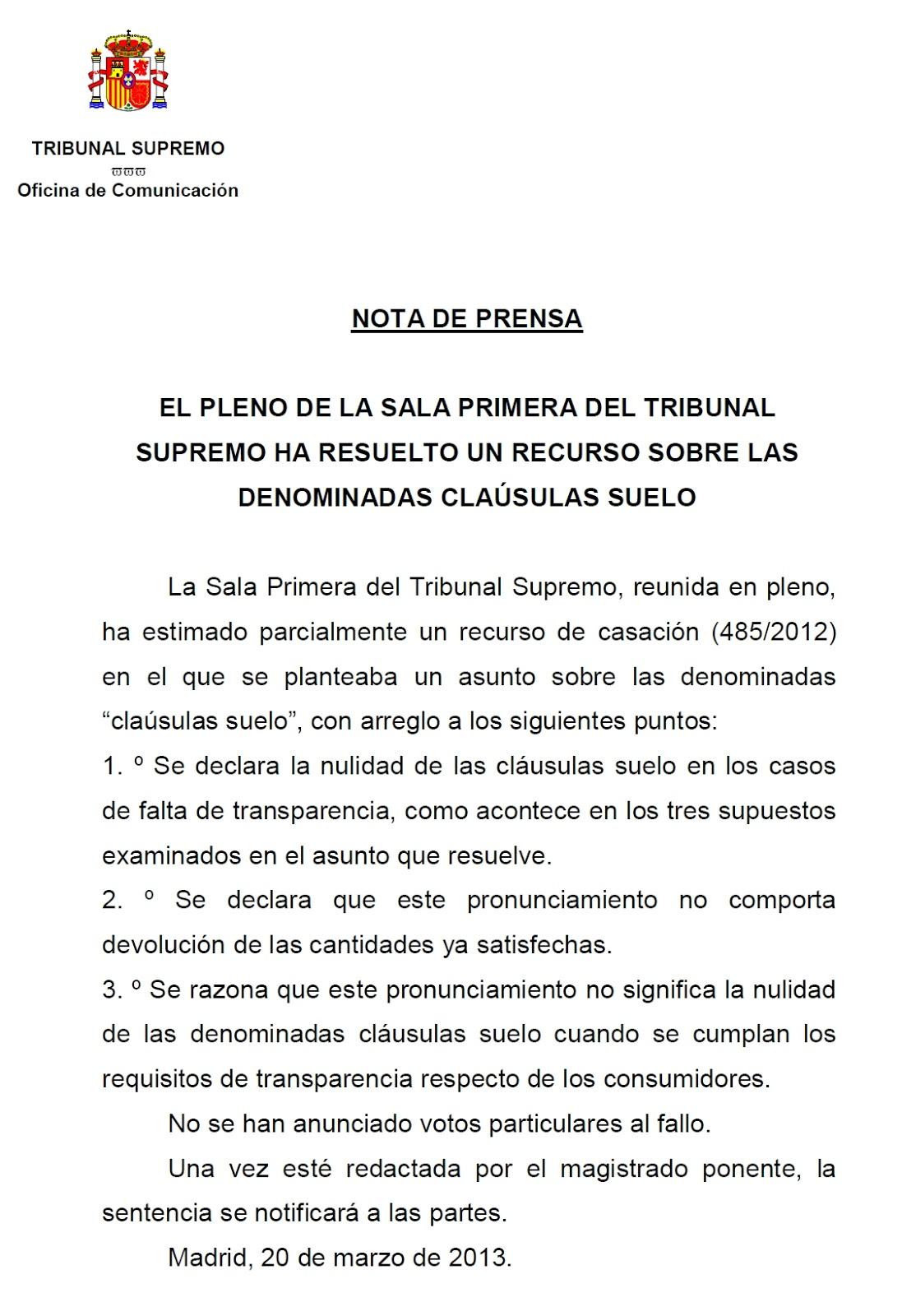 Barrag n lancharro abogados c ceres el pleno de la sala for Recurso clausula suelo
