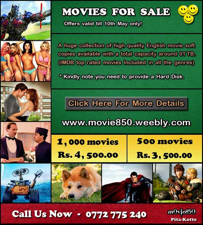 A huge collection of superb quality English movie soft copies available with a total capacity of 01 TB.  (IMDB highest rated blockbuster movies included)