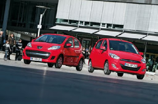 auto test drive: city car in the test: hyundai i10 and peugeot 107