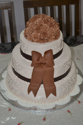 3 tier stacked wedding cake - buttercream frosting