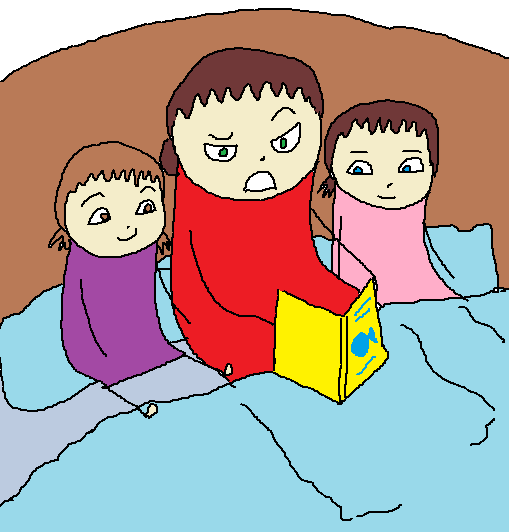 me, my mom and my sister sitting together on a bed.  My mom is reading a story and looks annoyed.