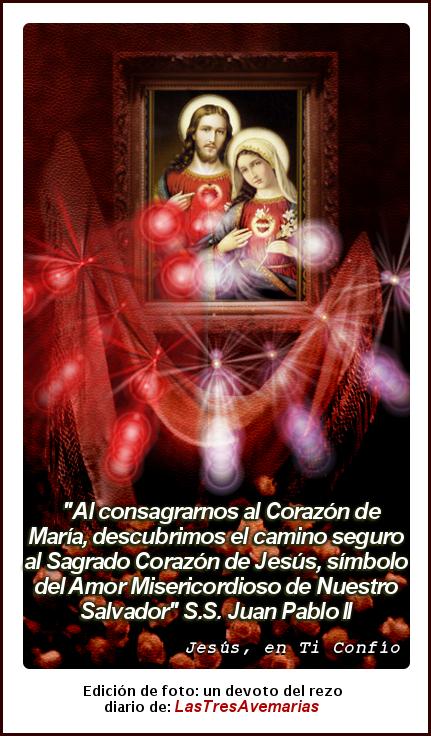 Jesus Maria (corazones sagrados foto con frase de el papa juan pablo segundo)