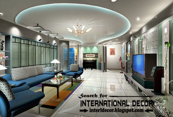 LED ceiling lights, LED strip lighting, false ceiling for living room interior