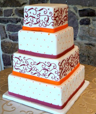 Oohlala cakes multi layer cake with purple and orange for Decoration layer cake