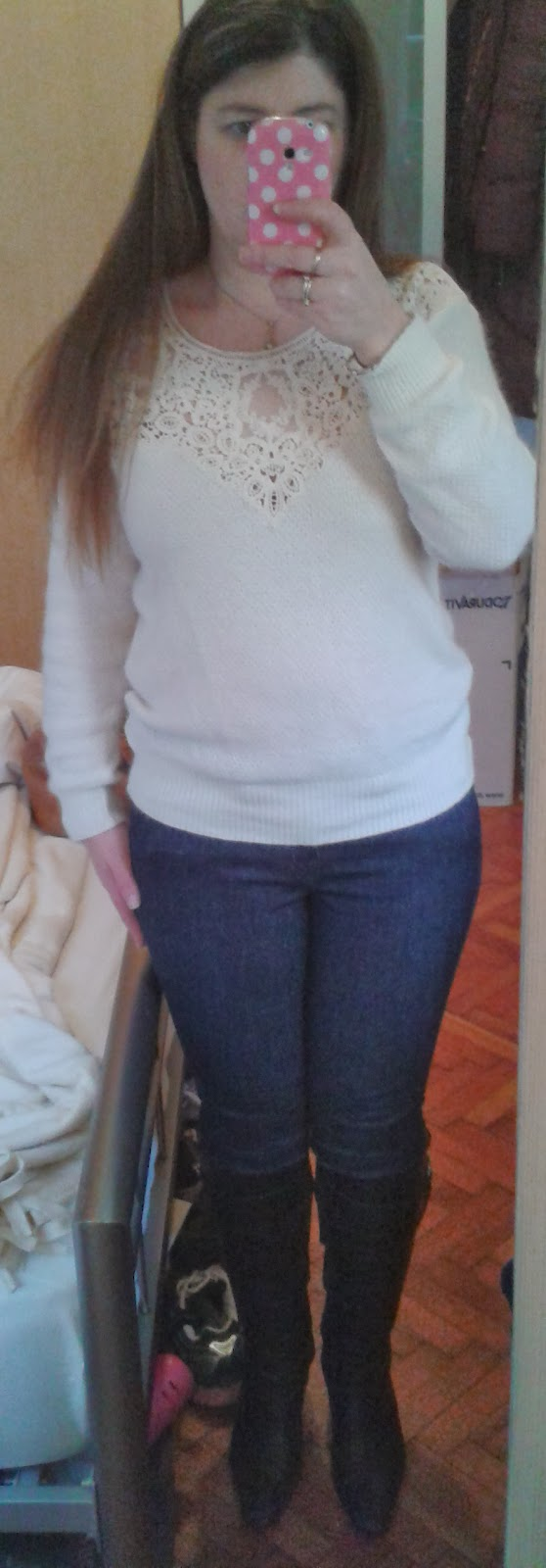 An Outfit for Sunday Afternoon Tea Party - Skinny Jeans, Jumper & Knee High Boots