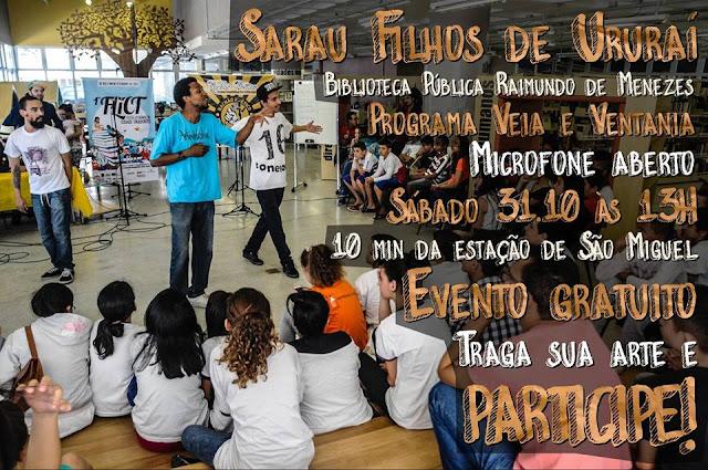 Sarau dos Filhos do Ururaí vai acontecer neste sábado em São Miguel Paulista-SP