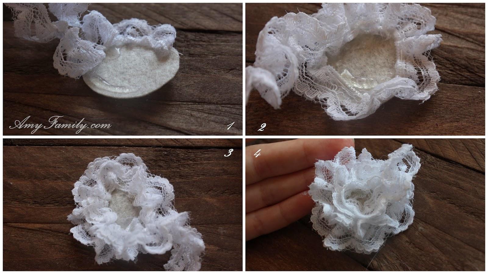 Как сделать цветок из кружева - Семиделухи 66