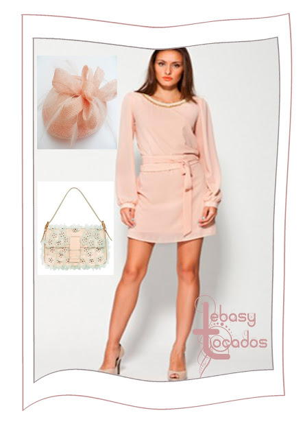 Look en rosa nude con tocado Lágrima Lebasy.