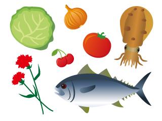 助太力くんがイメージする生鮮品のイラスト