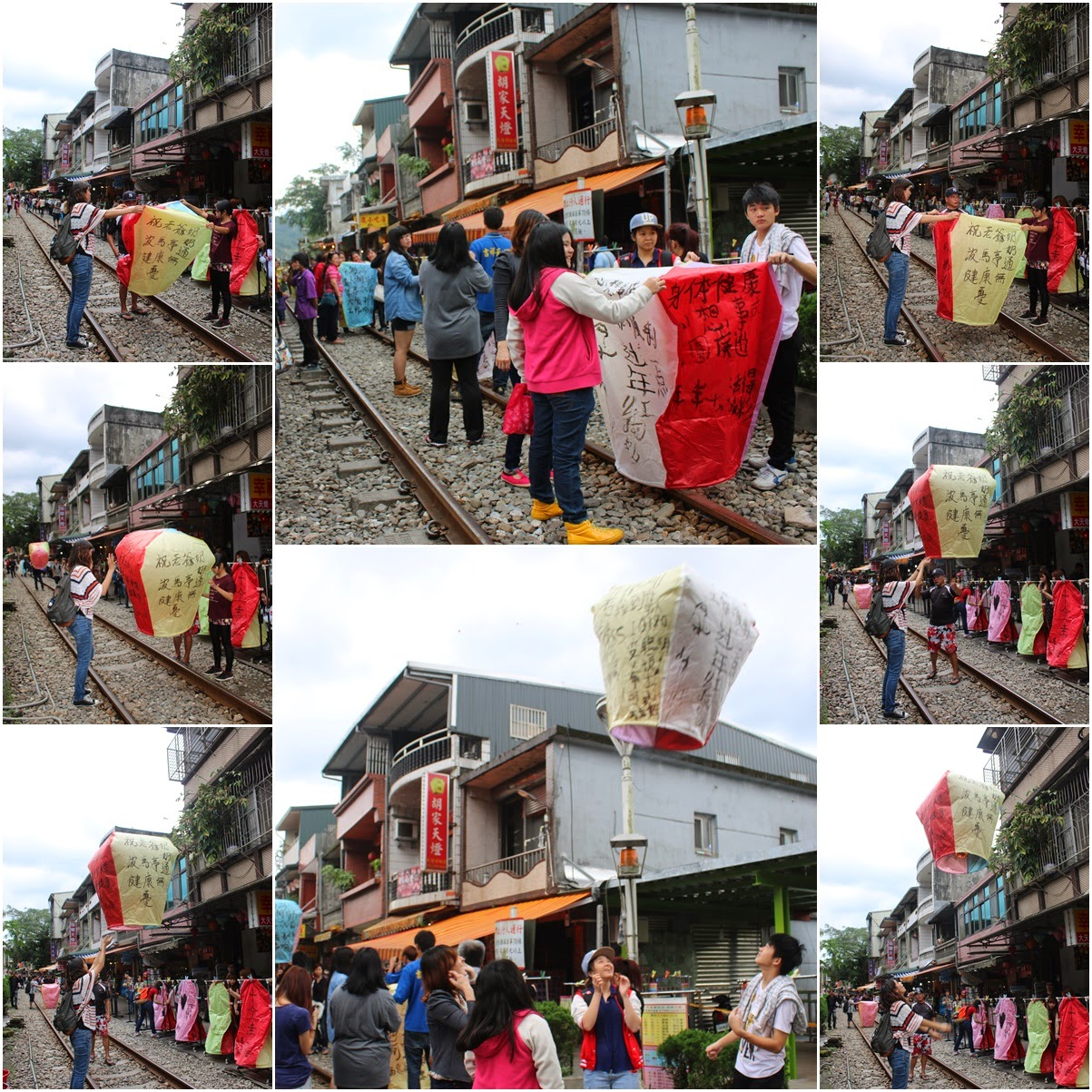 Releasing sky lanterns with your messages at Shifen Old Village in Taiwan