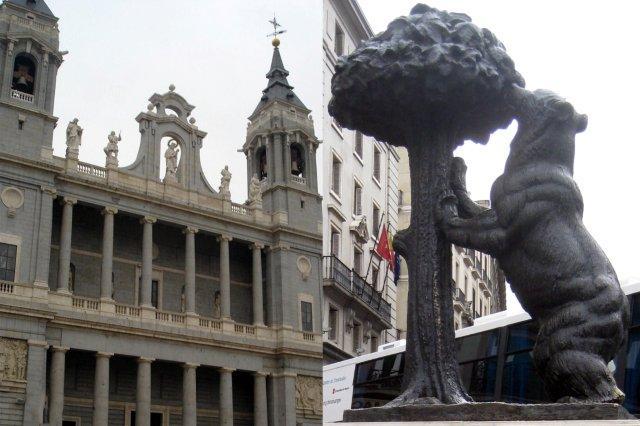Madrid - Catedral de la Almudena y El Oso y el Madrono, Puerta del Sol