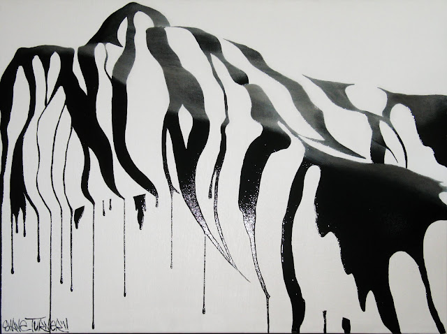 Painting by Canada's Shane Turner of black liquid pouring over the curves of the feminine form.
