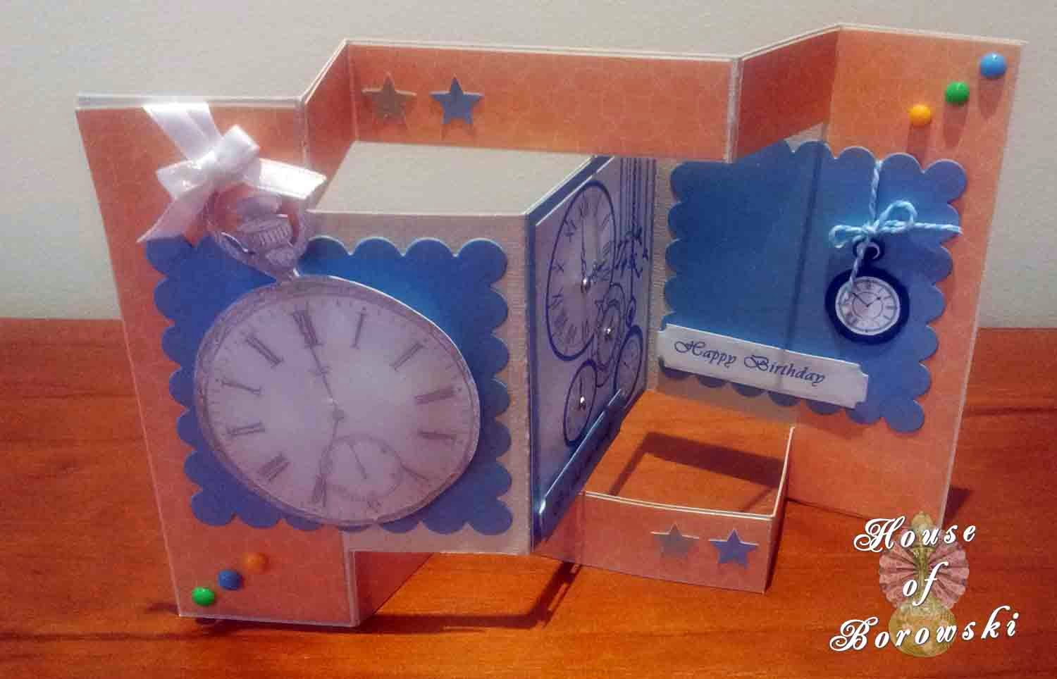 Perfectly Rustics,HOB,Tri-fold shutter card, bugaboo, Spellbinders, taylored impressions, vintage pocket watch, DCWV citrus stack.