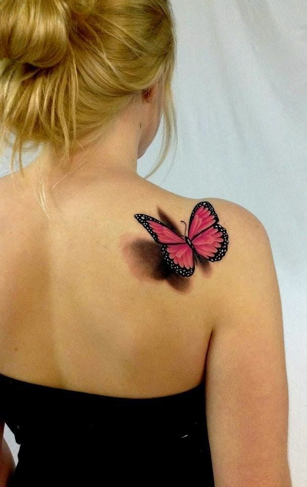 Butterfly tattoos on back shoulder