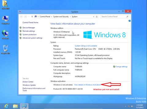Sekarang lihat pada bagian Control panel > System Security > System, anda akan melihat bahwa Windows 8 belum di aktivasi.