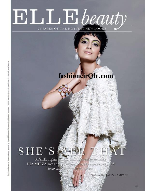 Dia Mirza Elle Magazine Cover -  Dia Mirza's Elle April 2012 Magazine Scans