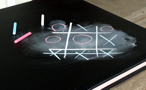 Upcycled DIY Chalkboard Paint Game Table - Chalkboard Paint and Washi Tape Craft Project