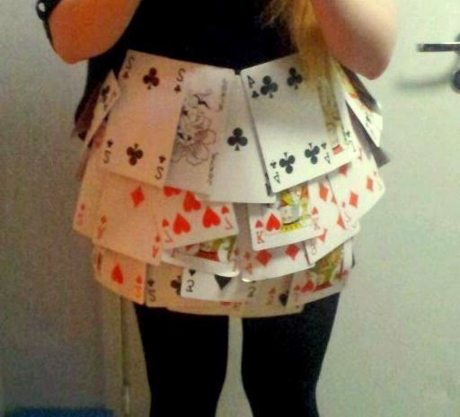 DIY playcard skirt for alice in the wonderland themed party