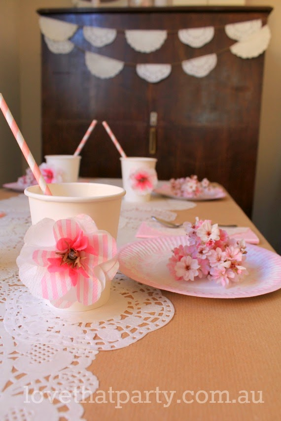 image of girls pink and white lace tea party