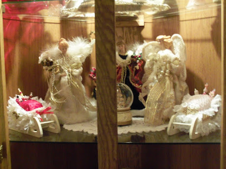 Some of my angels and sleigh display