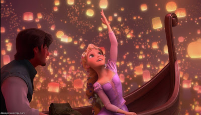 Rapunzel and Eugene in boat Disney animated movie Tangled