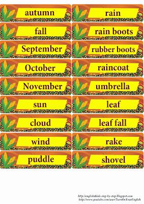 autumn fall vocabulary flashcards