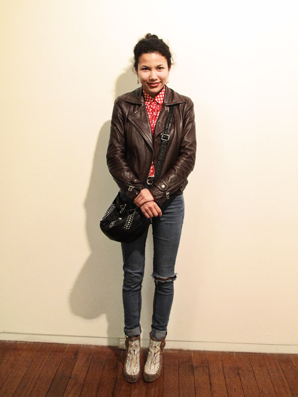 Street Fashion, Brown Biker Jacket, Red Check Shirt, Torn Jeans, Studded black leather bag and paint dripped shoes;  Roslyn Oxley9
